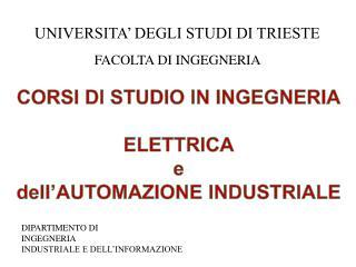 CORSI DI STUDIO IN INGEGNERIA ELETTRICA e dell�AUTOMAZIONE INDUSTRIALE