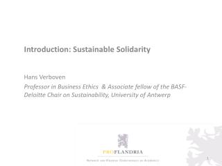 Introduction: Sustainable Solidarity Hans Verboven