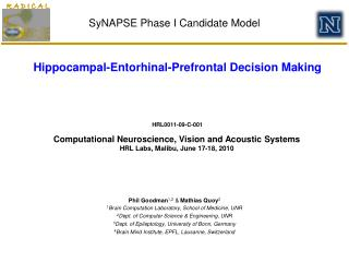 SyNAPSE Phase I Candidate Model
