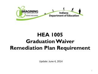 HEA 1005 Graduation Waiver Remediation Plan Requirement
