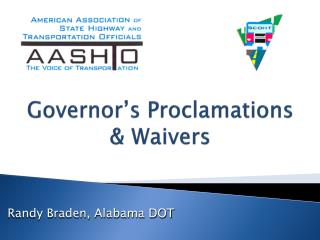 Governor's Proclamations & Waivers