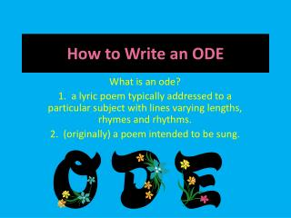 How to Write an ODE