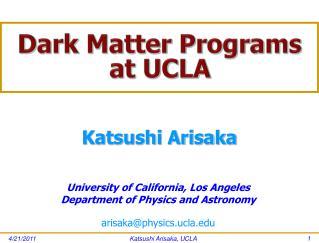 Dark Matter Programs at UCLA