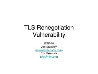 TLS Renegotiation Vulnerability