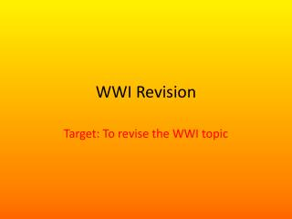 WWI Revision