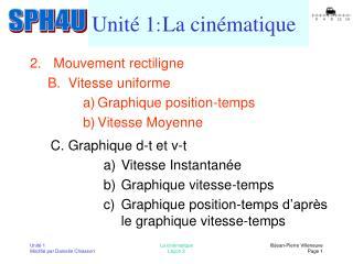 Unité 1 : La  cinématique