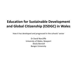 Education for Sustainable Development and Global Citizenship ESDGC in Wales