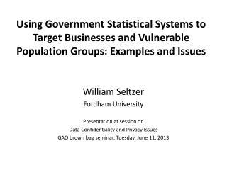 William Seltzer Fordham University Presentation at session on