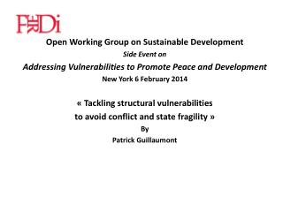 Open  Working  Group on  Sustainable Development Side  Event on