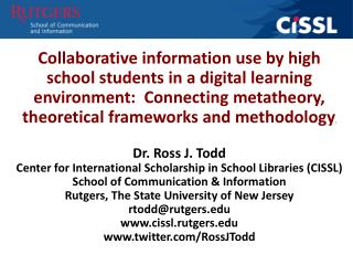 CiSSL funded research project 2012-2014