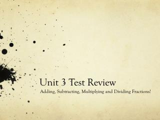 Unit 3 Test Review