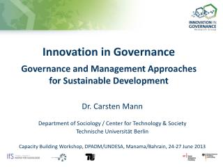 Innovation in Governance Governance and Management Approaches for Sustainable Development