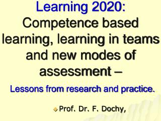 Prof. Dr. F. Dochy ,