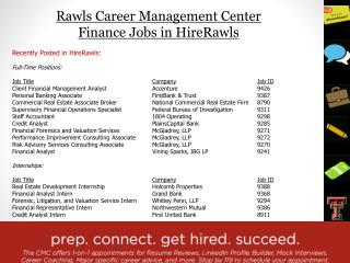 Rawls Career Management Center  Finance Jobs in  HireRawls