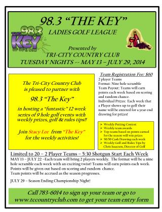 "The Tri-City Country Club  is pleased to partner with  98.3 ""The Key"""