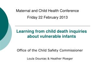 Learning from child death inquiries about vulnerable infants