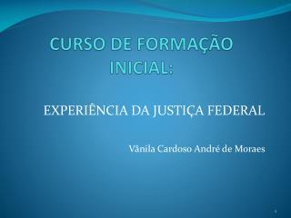 CURSO DE FORMAÇÃO INICIAL: