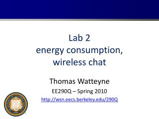 Lab 2 energy consumption, wireless chat