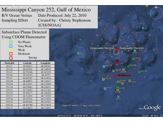 Mississippi Canyon 252, Gulf of Mexico R/V Ocean  Veritas       Date Produced: July 22, 2010
