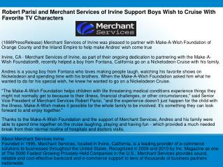 Robert Parisi and Merchant Services of Irvine Support Boys W