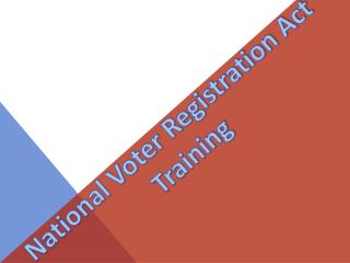 National Voter Registration Act Training