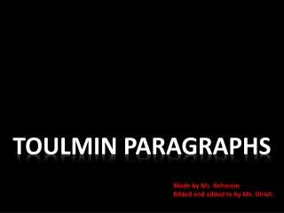 TOULMIN PARAGRAPHS