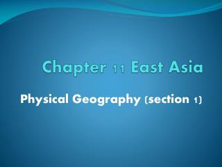 Chapter 11 East Asia