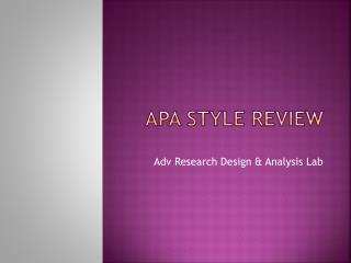APA Style Review