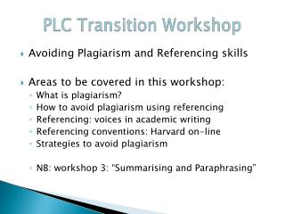PLC Transition Workshop