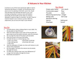 A Volcano in Your Kitchen