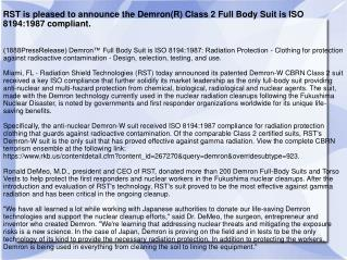 RST is pleased to announce the Demron(R) Class 2 Full Body S