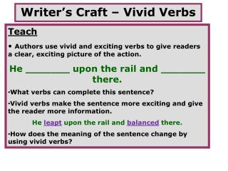 Writer's Craft – Vivid Verbs