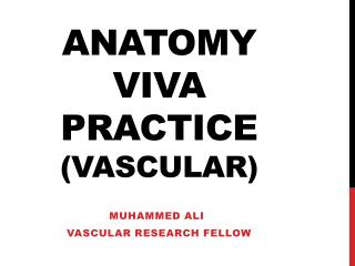 Anatomy          viva practice   (vascular)