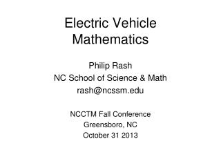 Electric Vehicle Mathematics
