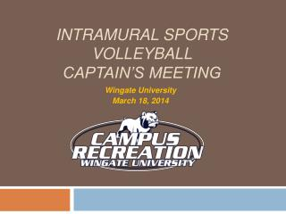 Intramural Sports Volleyball Captain's Meeting