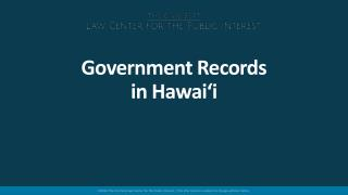Government Records in Hawai'i