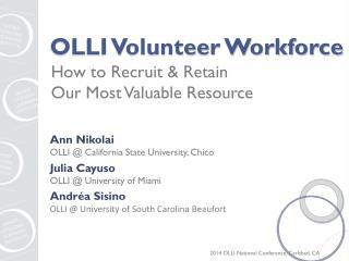 OLLI Volunteer Workforce