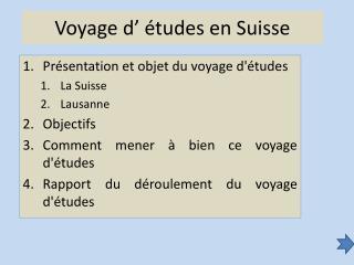 Voyage d'études en Suisse