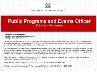 Public Programs and Events Officer Full time – Permanent