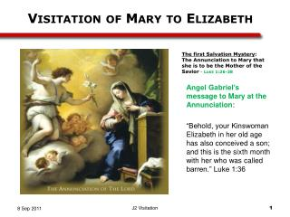 Angel Gabriel�s message to  Mary at the Annunciation :
