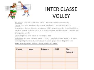 INTER CLASSE VOLLEY