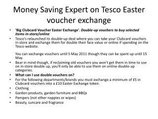 Money Saving Expert on Tesco Easter voucher exchange