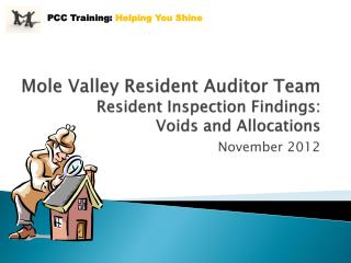 Mole Valley Resident Auditor Team Resident Inspection Findings:  Voids and Allocations