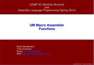UM Macro Assembler Functions