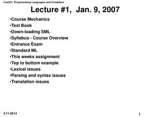 Lecture 1,  Jan. 9, 2007