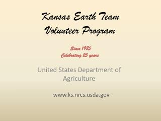 Kansas Earth Team  Volunteer Program
