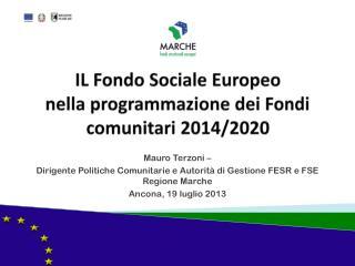 IL Fondo Sociale Europeo nell a  programmazione dei Fondi comunitari 2014/2020