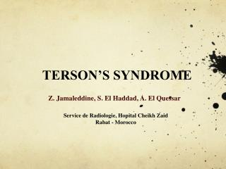 TERSON'S SYNDROME