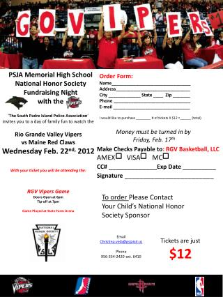 PSJA Memorial High School National Honor Society Fundraising Night                 with the