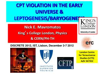 CPT VIOLATION IN THE EARLY UNIVERSE & LEPTOGENESIS/BARYOGENESIS